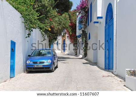 Beautiful streets of Sidi Bou Said, Tunisia (Editorial) - stock photo