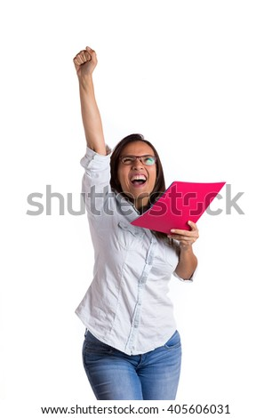 beautiful student  celebrating holding her qualifications on a white background