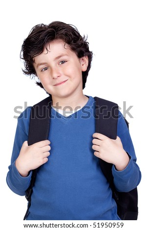 Beautiful student child with backpack isolated on white background