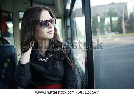 beautiful student girl in the bus