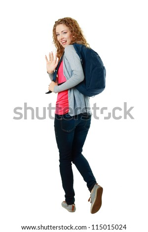 beautiful student girl walking away and saying bye-bye
