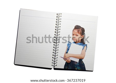 Beautiful student  young girl holding a book on book background. - stock photo