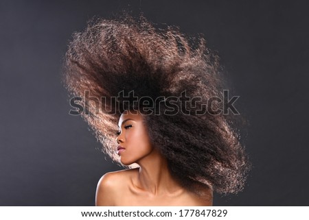 Beautiful Stunning Portrait of an African American Black Woman With Big Hair - stock photo