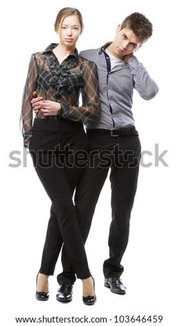 Beautiful stylish couple, isolated on white background - stock photo
