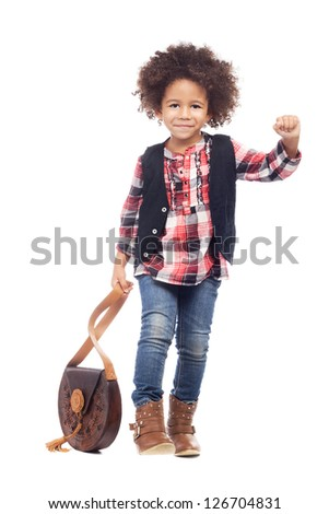 Beautiful stylish little girl with leather bag against white background - stock photo