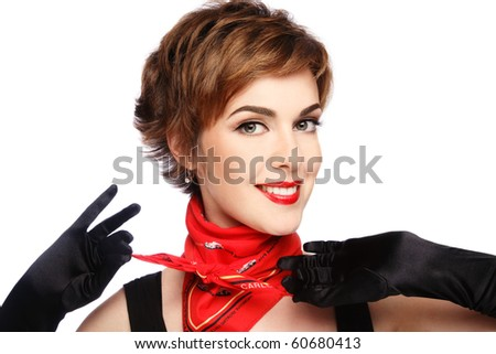 Beautiful stylish smiling young woman in black gloves on white background