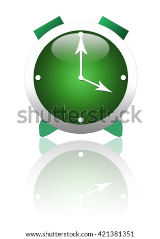 Beautiful stylized green alarm clock, with reflection on white background. - stock photo