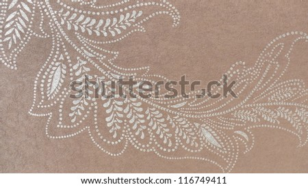 Beautiful, subtle floral ornament in brown and beige. - stock photo