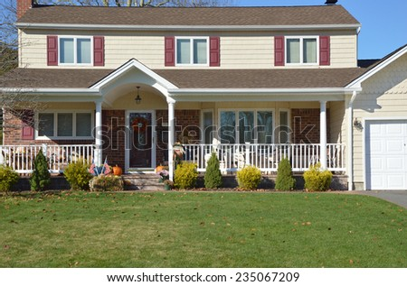 Beautiful Suburban high ranch style home residential neighborhood USA
