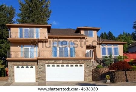 Beautiful Suburban Home on Sunny Day - stock photo