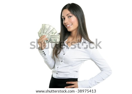 Beautiful success businesswoman holding Dollar notes, isolated on white - stock photo