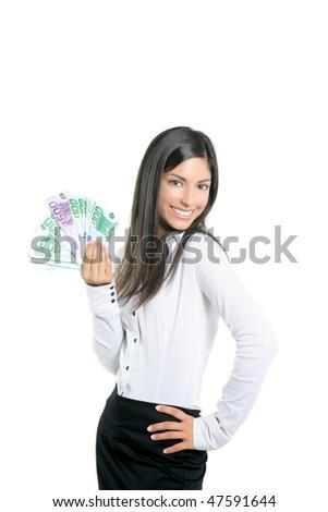 Beautiful success businesswoman holding Euro notes isolated on white - stock photo
