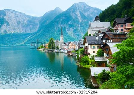 Beautiful summer Alpine Hallstatt Town and lake Hallstatter See view (Austria) - stock photo