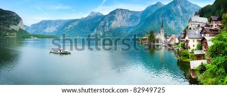Beautiful summer Alpine Hallstatt Town and lake Hallstatter See view (Austria). Two shots stitch image. - stock photo