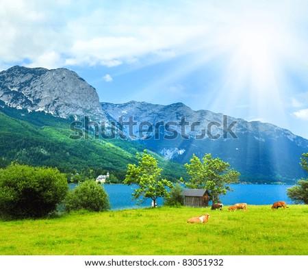 Beautiful summer Alpine  lake Grundlsee view (Austria) - stock photo