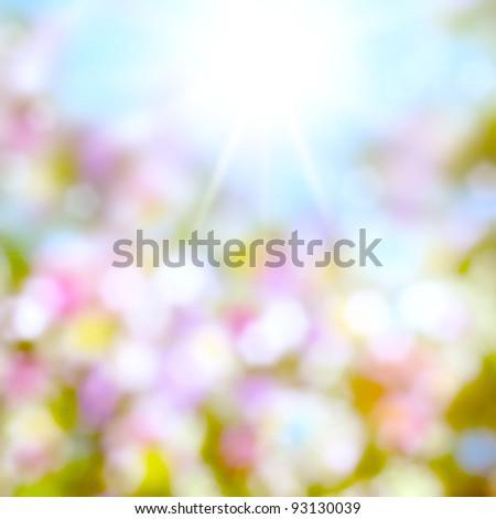 Beautiful summer background. Blurred bokeh. - stock photo