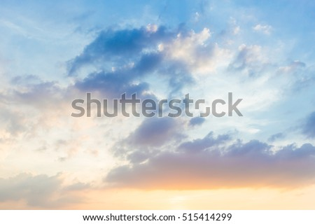 beautiful summer blue sky cloud with sunset light.