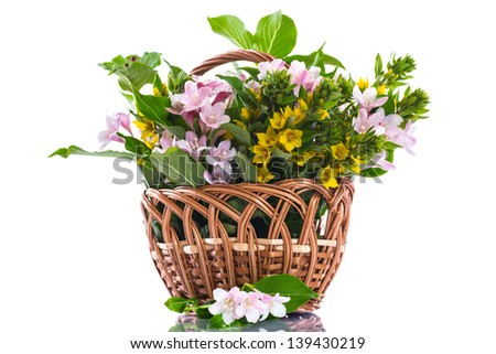 beautiful summer bouquet in a wicker basket on a white background