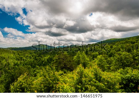 Beautiful summer clouds over the Appalachian Mountains in Shenandoah National Park, Virginia. - stock photo