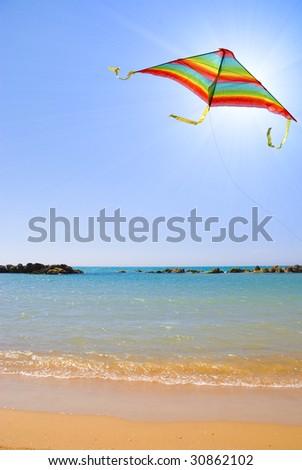 Beautiful summer day with colored kite