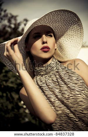 beautiful summer fashion girl with hat - stock photo