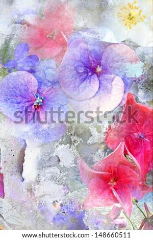 Beautiful summer flowers grungy background - stock photo