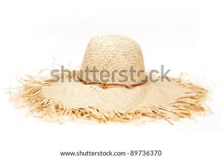 Beautiful Summer Hat (isolated on white background) - stock photo