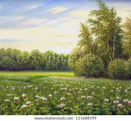 beautiful summer landscape, canvas, oil - stock photo