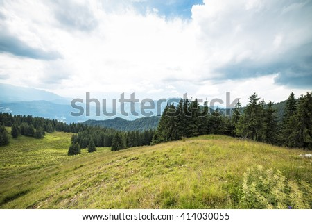 Beautiful summer landscape from the mountains - stock photo