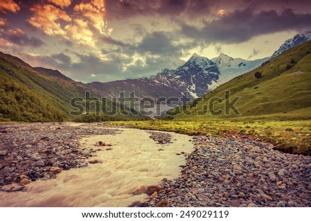 Beautiful summer landscape in the Caucasus mountains. Retro style. - stock photo