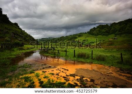 Beautiful summer landscape in the mountains, Hunedoara county, Romania - stock photo