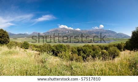 Beautiful summer landscape of Stymfalia Wetland in Peloponnese, Greece. - stock photo