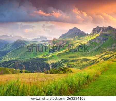 Beautiful summer landscape of the Italian Alps, Dolomites, South Tyrol. Location Auronzo, Italy, Europe. - stock photo
