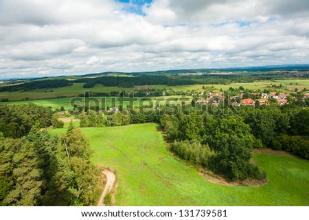 Beautiful summer landscape of the Southern Czech republic from above