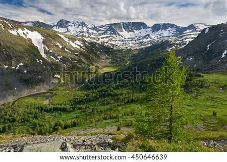 Beautiful summer landscape,Rivers and valleys of the Altai Mountains, Russia, Siberia, Katun ridge. - stock photo