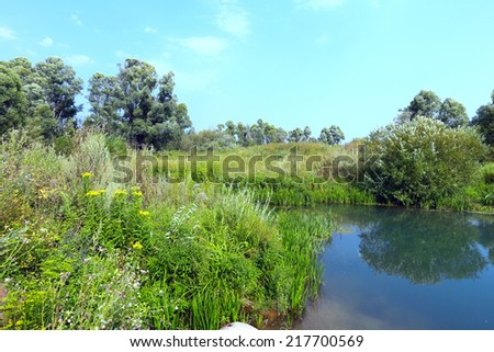 beautiful summer landscape small, tranquil rivers and trees and sky reflected in the mirrored water