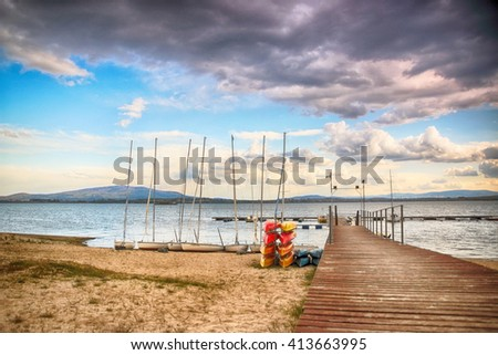 Beautiful summer landscape with cloudy sky and natural lake in Poland. HDR image - stock photo