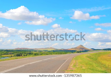 Beautiful summer landscape with highway