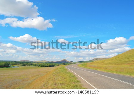 Beautiful summer landscape with highway - stock photo