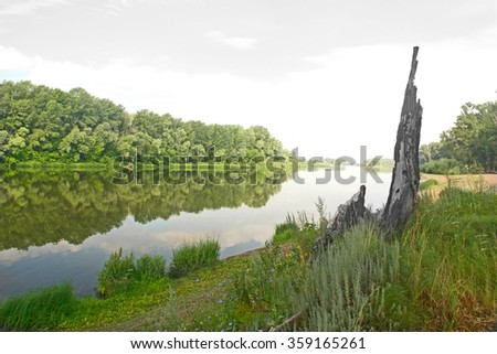 Beautiful summer landscape with river - stock photo