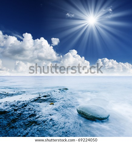 Beautiful summer landscape with the seaside - stock photo