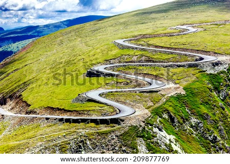 Beautiful summer landscape with Transalpina road in Romania - stock photo