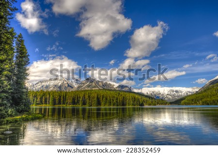 Beautiful summer landscapes of Two Jack Lake in Banff National Park Alberta Canada - stock photo