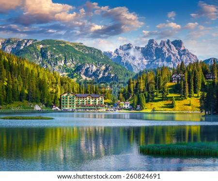 Beautiful summer morning on the Lake Misurina, in Italy Alps, Tre Cime Di Lavaredo, Dolomites, Europe. - stock photo