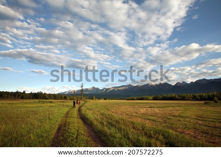 beautiful summer mountain landscape green meadow, forests and wonderful clouds on blue sky  - stock photo