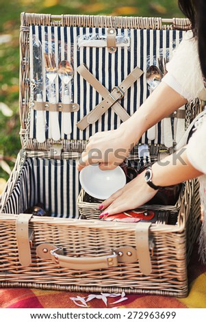Beautiful summer picnic set with fork, spoon and knife - stock photo