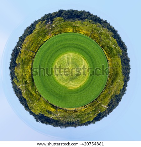 Beautiful summer rural landscape with field and blue sky. Rural landscape. Spring landscape. green field in countryside. Beautiful countryside. Beautiful planet ecology concept. Tiny green planet - stock photo