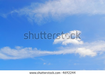 beautiful summer sky blue background with with fluffy clouds - stock photo