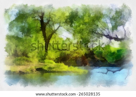 beautiful summer sunrise on the river, watercolor illustration - stock photo