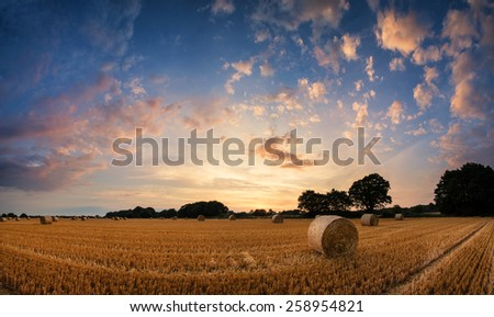 Beautiful Summer sunset landscape over field of hay bales